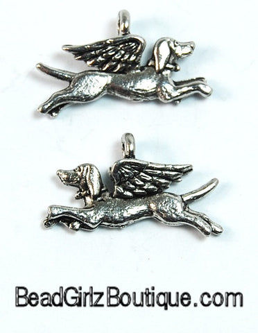 Dog Angel Silver Pewter Dog Charm -1