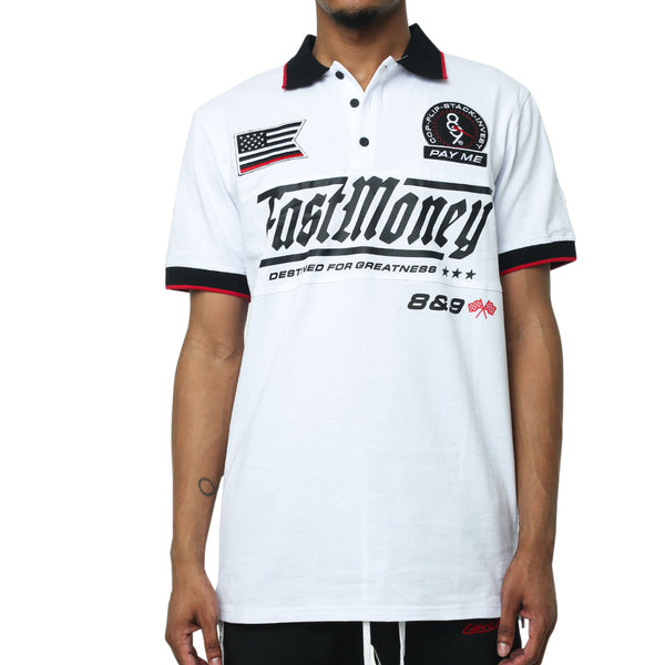 Fast Money Racing Polo Shirt White