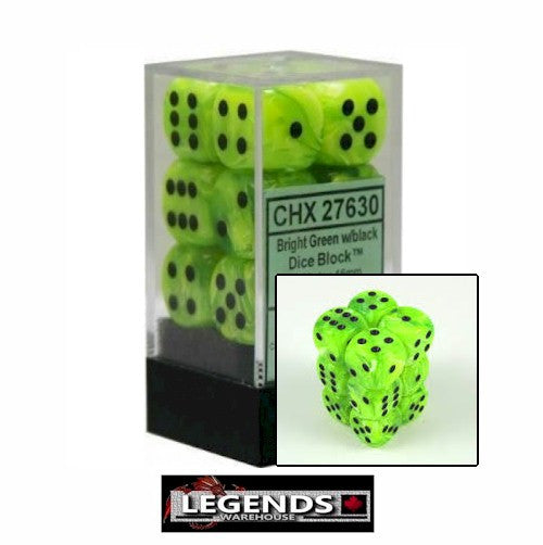 CHESSEX - D6 - 16MM X12 - Vortex: 12D6 Bright Green / Black  (CHX 27630)