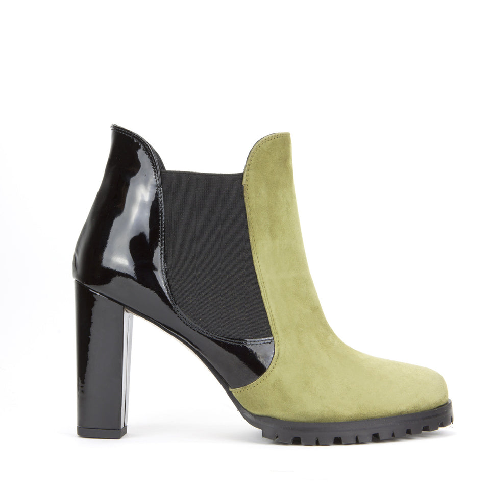 Carmen Ankle Boot <b>Moss Suede and Black Patent</b>