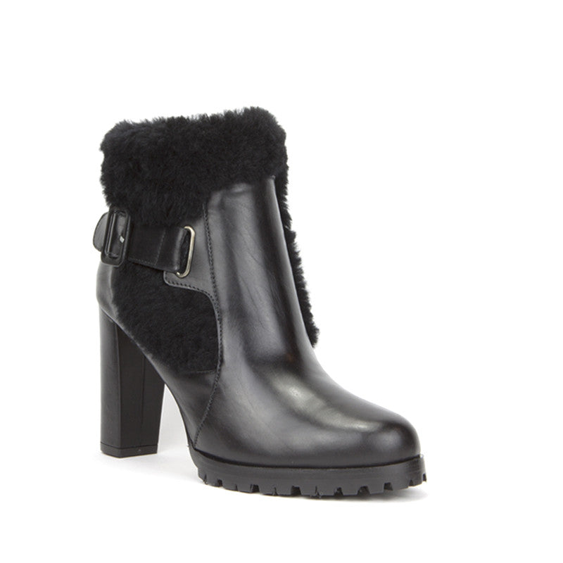 Cleo Ankle Boot <b>Black Calf with Black Shearling</b>