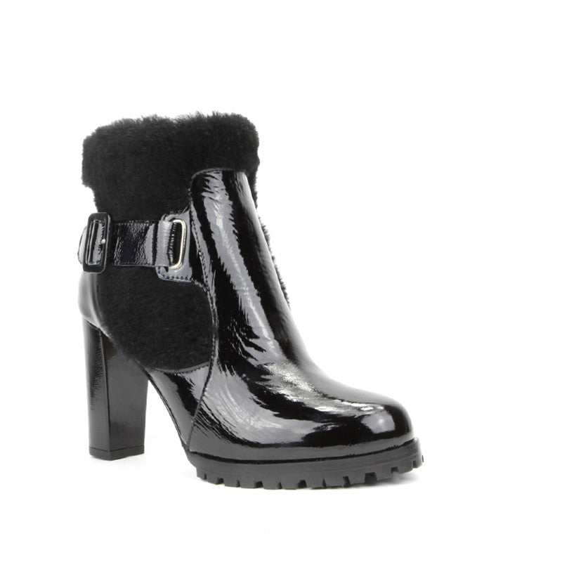 Cleo Ankle Boot <b>Black Patent with Black Shearling</b>