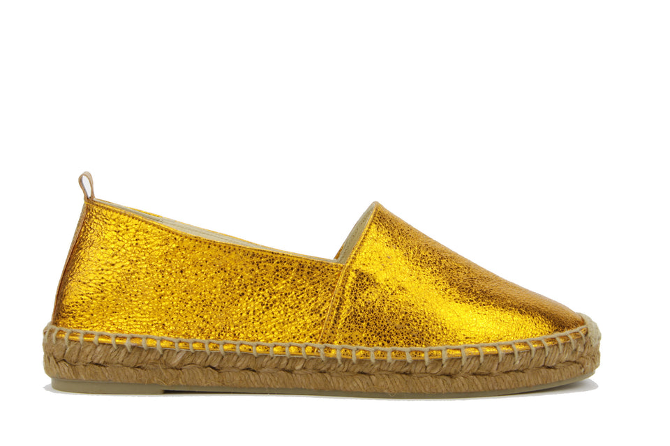 Habana Espadrille Cracked Leather Metallic Orange