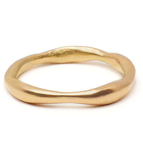 Organic Gold Wedding Band in recycled gold handmade sustainable jewelry in Brooklyn NY