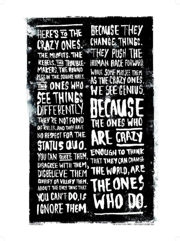Here's to the Crazy One's quote poster