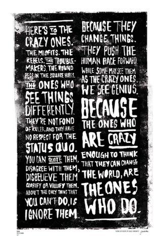 Here's to the Crazy One's lettering poster 1