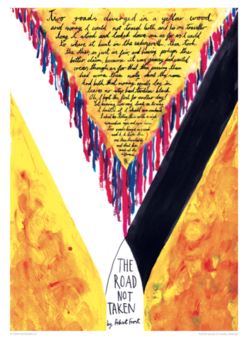 The Road Not Taken, Robert Frost lettering poster
