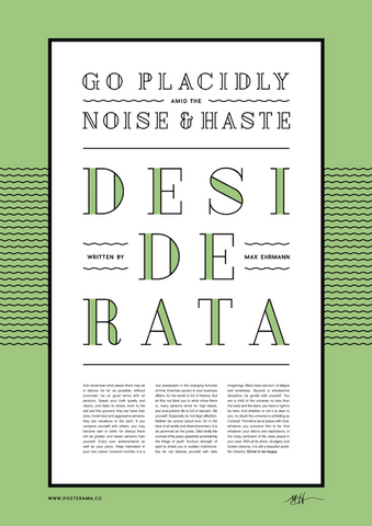 Inspirational quotes: Desiderata typography poster 6