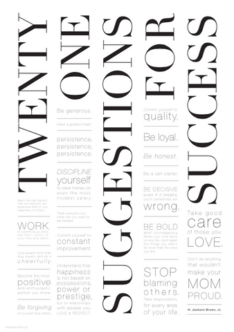 Inspirational Quote '21 Suggestions for Success' poster