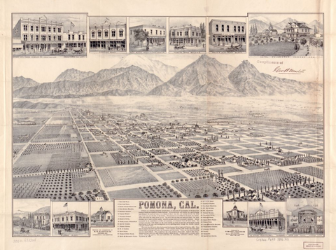 Old map of Pomona California typography poster