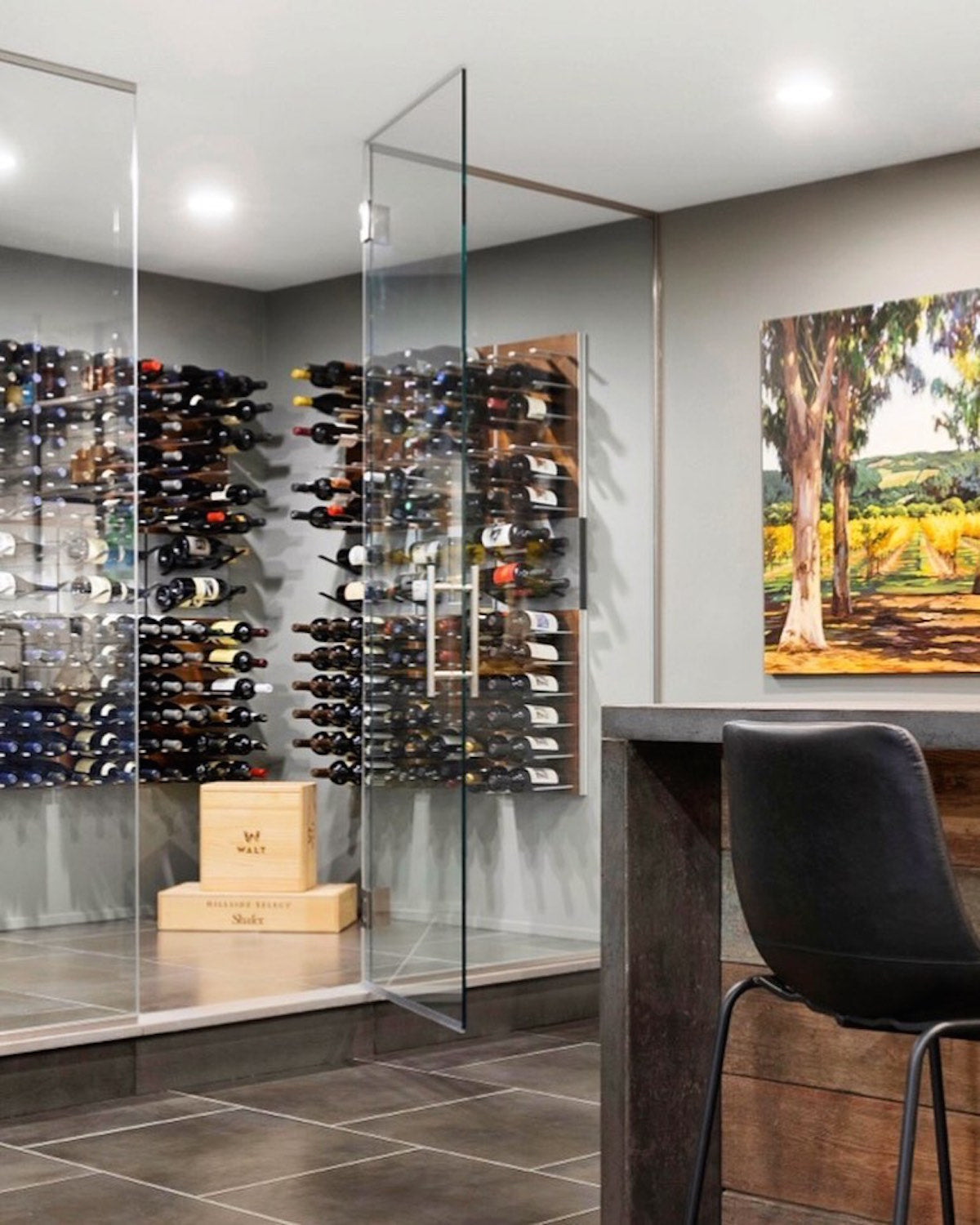 minneapolis minnesota glass wine room design