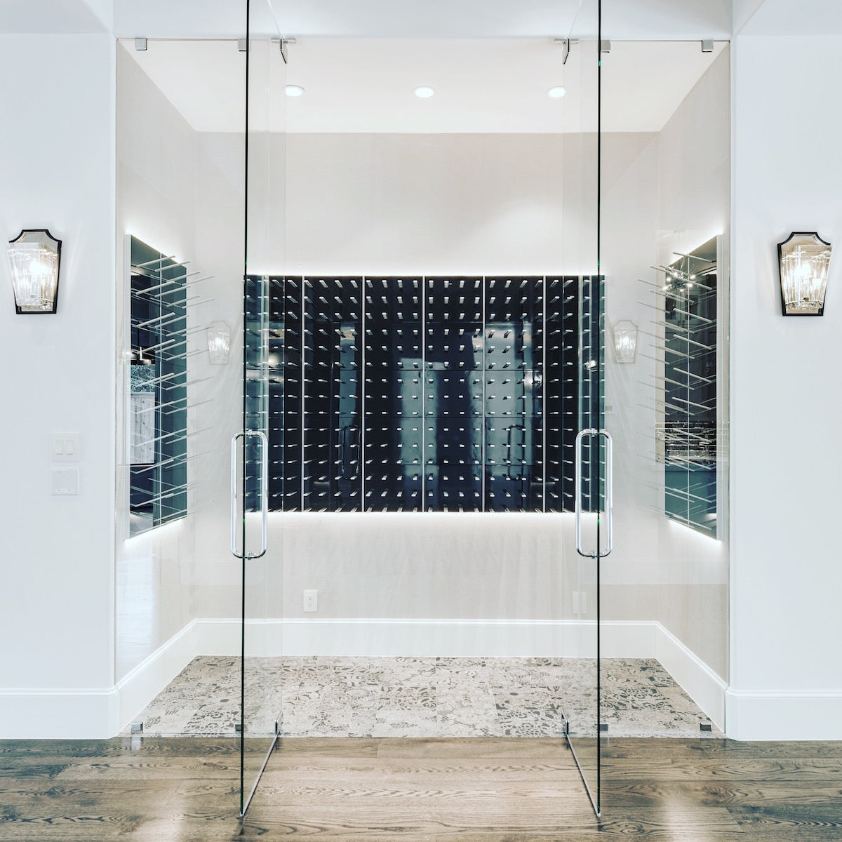 houston texas glass wine room by timeline construction group