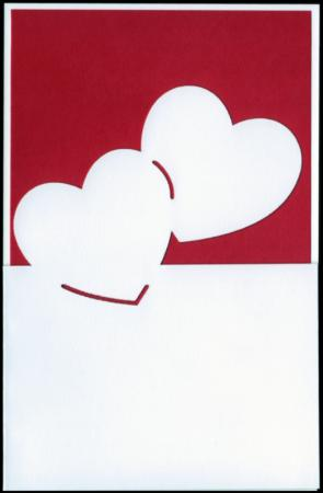 Red two hearts lazer cut gift card