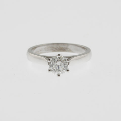 Diamond solitaire ring round brilliant cut 6 claw rounded square band