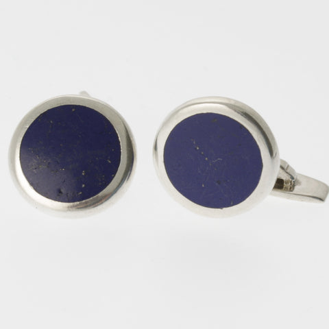 Lapis lazuli and sterling silver round cufflinks
