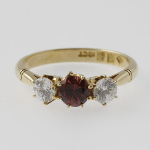 Ruby and diamond triple ring in yellow gold