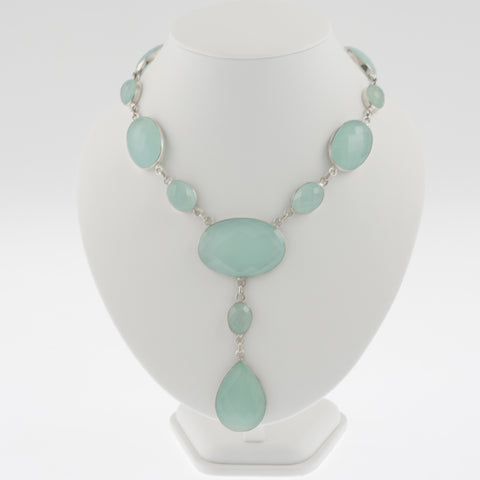 Oval faceted chalcedony necklace