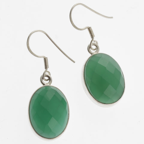 Oval faceted green agate earrings