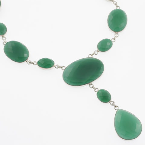 Oval faceted green agate necklace