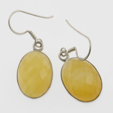 Oval faceted yellow agate earrings
