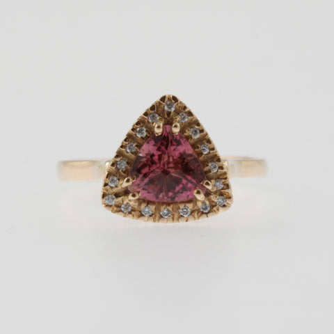 Pink tourmaline trillion with diamond halo and side detail rose gold ring