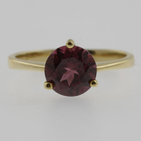 Rhodolite brilliant cut yellow gold ring