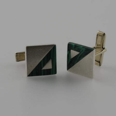 Sterling silver and malachite square cufflinks