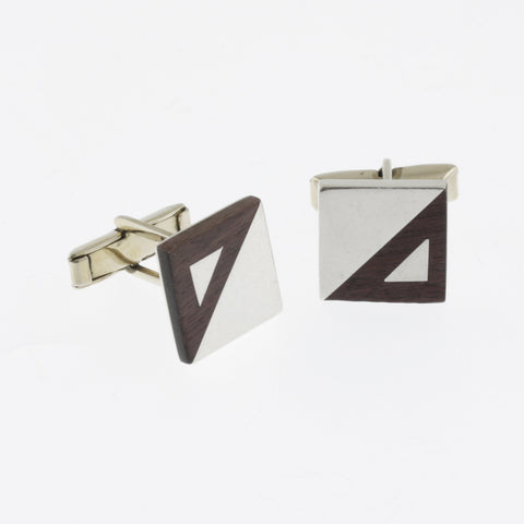 Sterling silver and timber square cufflinks