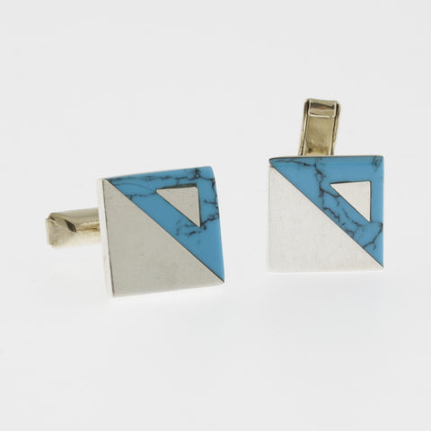 Sterling silver and turquoise square cufflinks