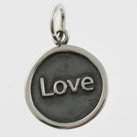 Inspiration silver oxidised pendant- love