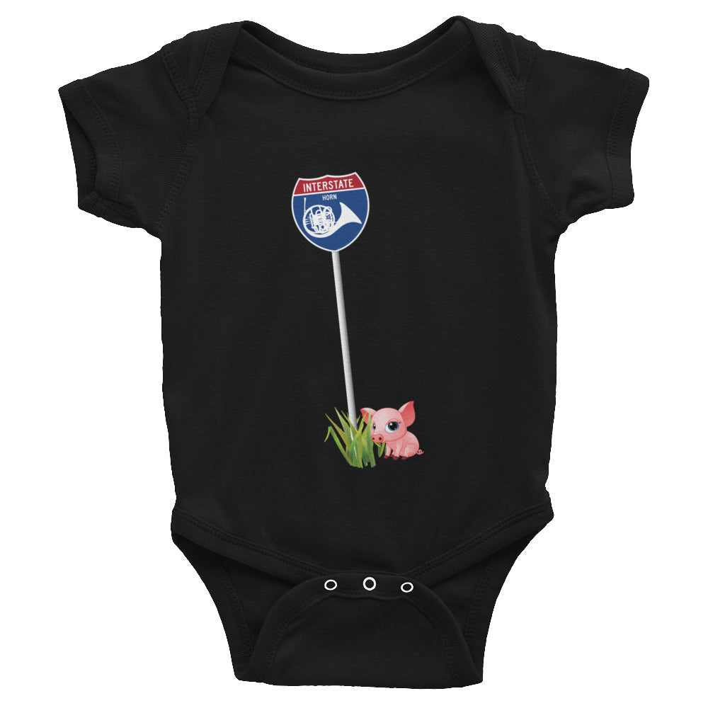 Interstate Horn with Coda, the little piggy -infant bodysuit onsie
