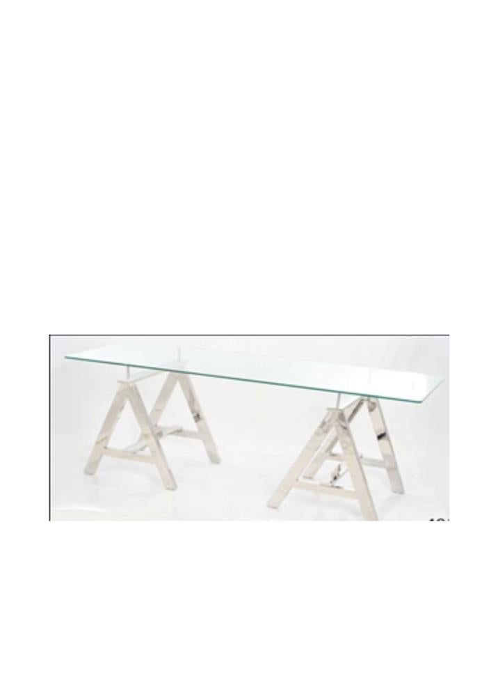 "STEEL ""A"" TABLE WITH 8MM TOUGHENED GLASS SIZE 60X150 CMS BEVELLED EDGE"
