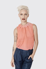 Load image into Gallery viewer, Summer shirt for women  - Pink chiffon blouse with tying - blush- pink- loose blouse - tranparent sleeveless top - summer sexy shirt