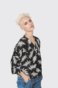 Black palm print V neck line-long sleeve sweatshirt-warm sportive top- loose shirt - oversiz sweatshirt- loose top - cotton tops - VNBlouse