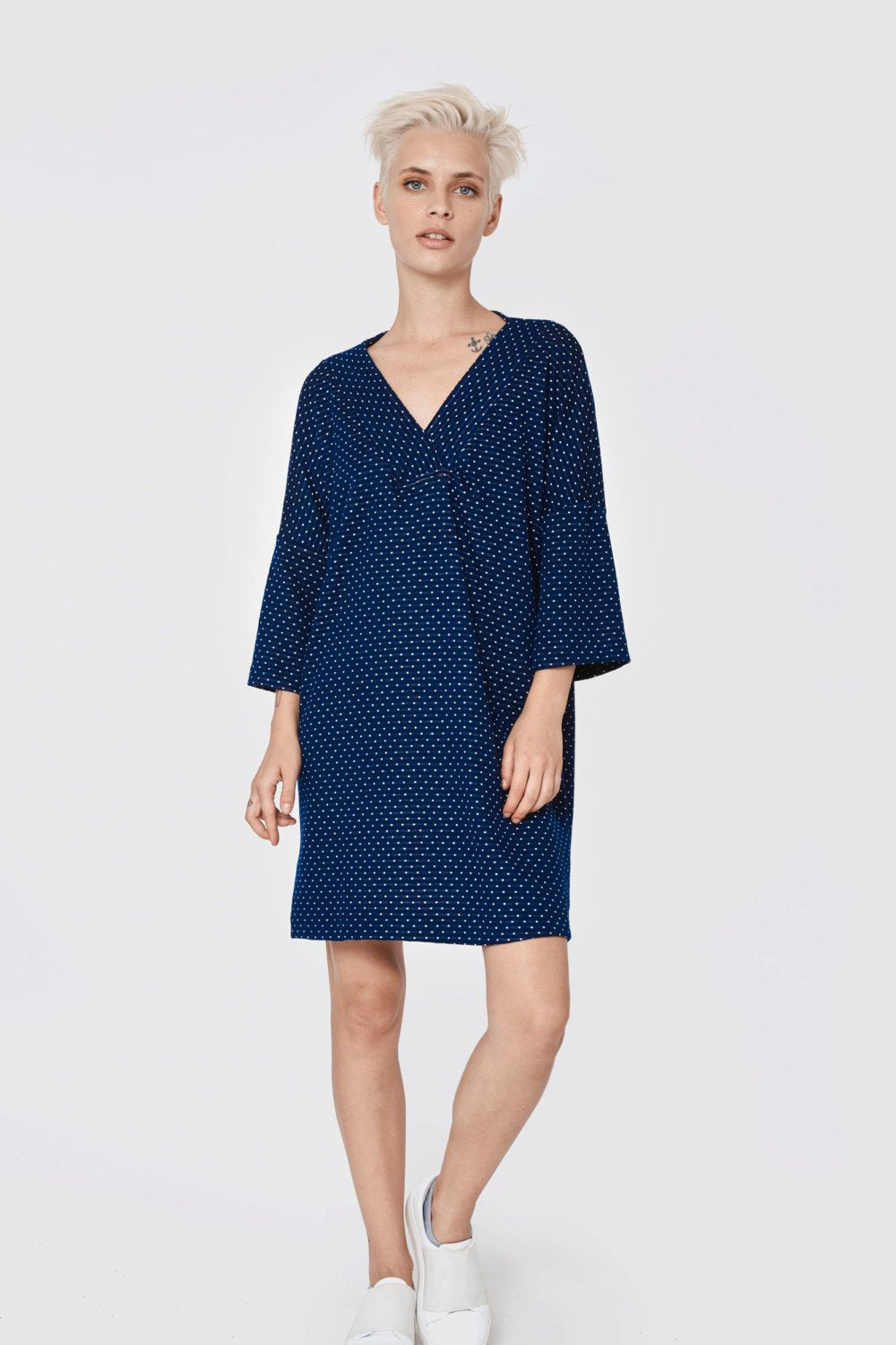 Dotted blue V neck line-long sleeve tunic -warm sportive mini dress- double side top - oversiz tunic- loose top - sexy dress - VNTunic