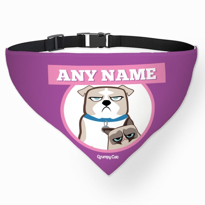 Grumpy Cat Purple Pet Bandana - Image 1
