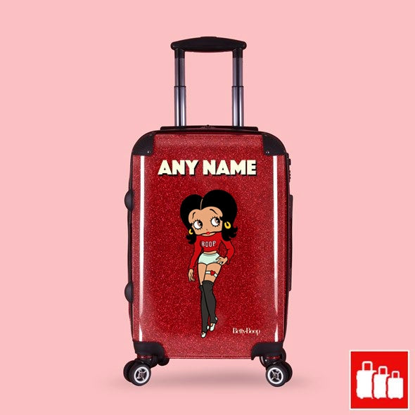 Betty Boop Red Glitter Effect Suitcase - Image 1