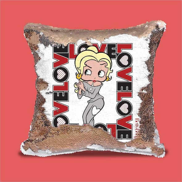Betty Boop Love Sequin Cushion - Image 1