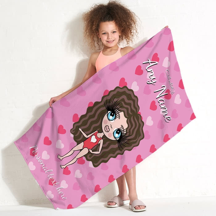 ClaireaBella Girls Hearts Beach Towel - Image 2