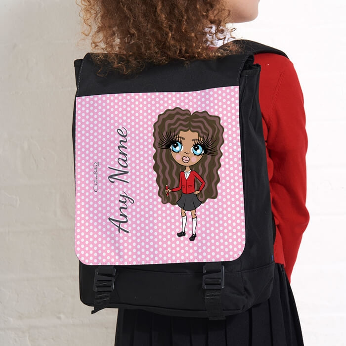 ClaireaBella Girls Pink Polka Dot Large Backpack - Image 3