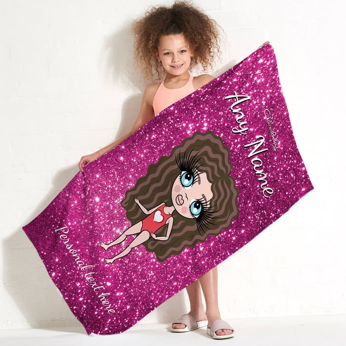 ClaireaBella Girls Glitter Effect Beach Towel - Image 1