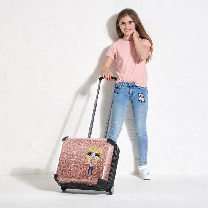 ClaireaBella Girls Glitter Effect Weekend Suitcase - Image 4