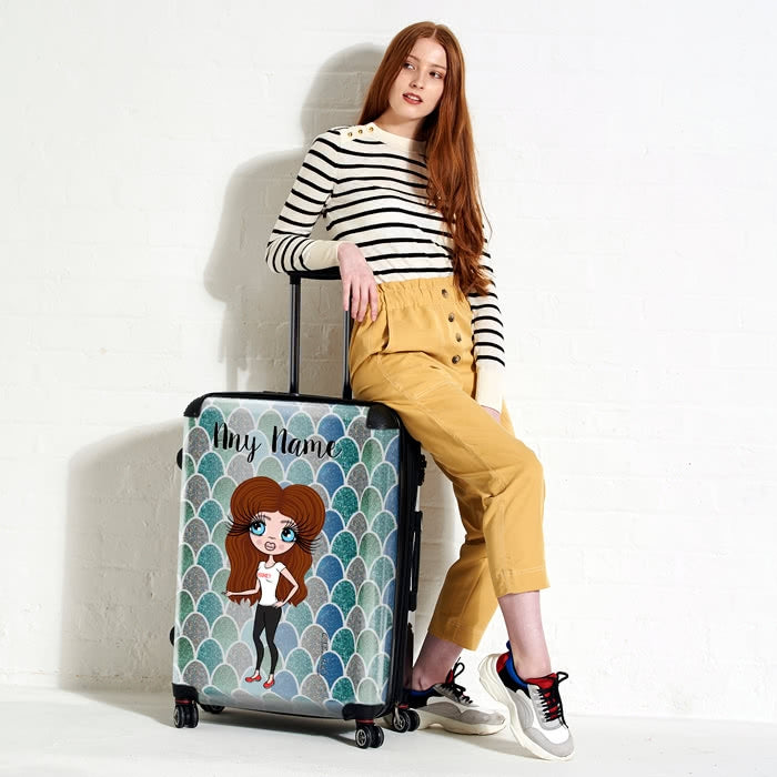 ClaireaBella Mermaid Glitter Effect Suitcase - Image 1