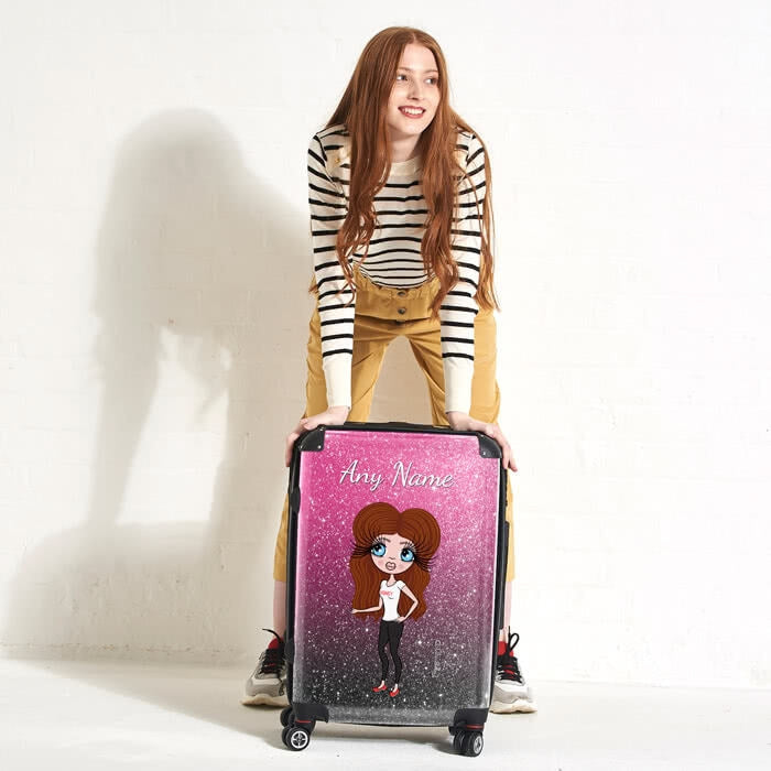 ClaireaBella Ombre Glitter Effect Suitcase - Image 1