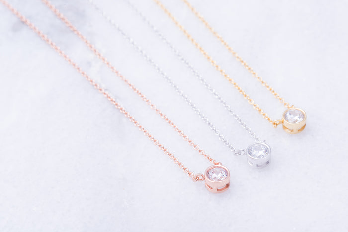 Bezel Crystal Necklace
