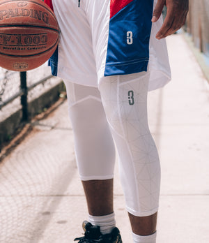 Triple Threat 3/4 Length Compression Tights - White Shatter - On Court