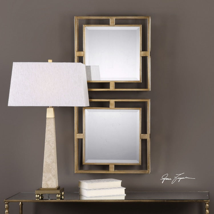 Allick Gold Square Mirrors S/2
