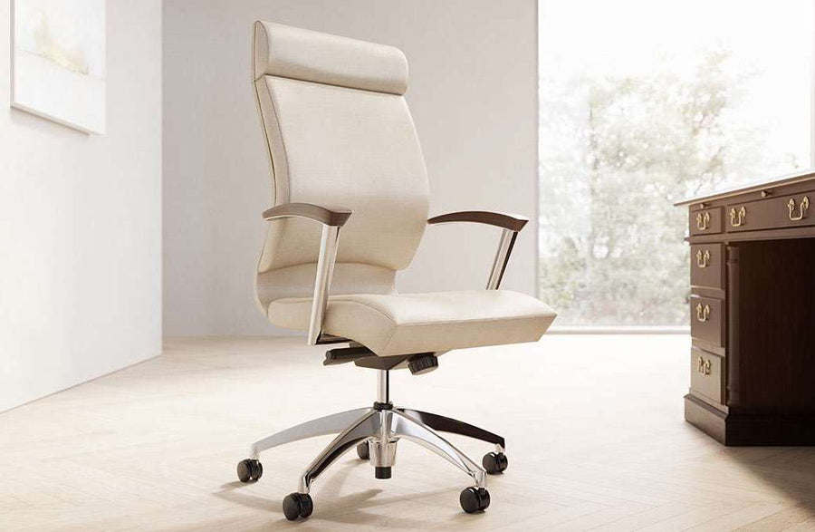 CS2 Leather Executive Conference Chair with Black urethane arm pads