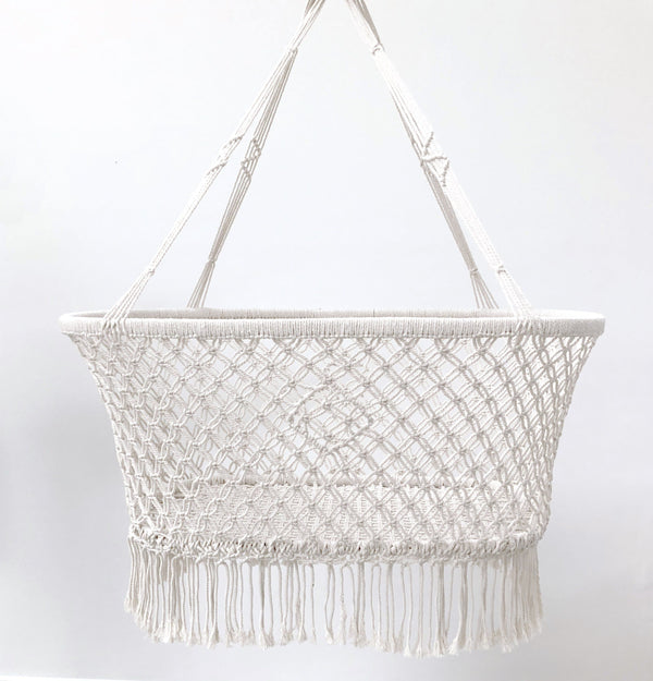 handmade white macrame bassinet crib suitable to use with a dockatot
