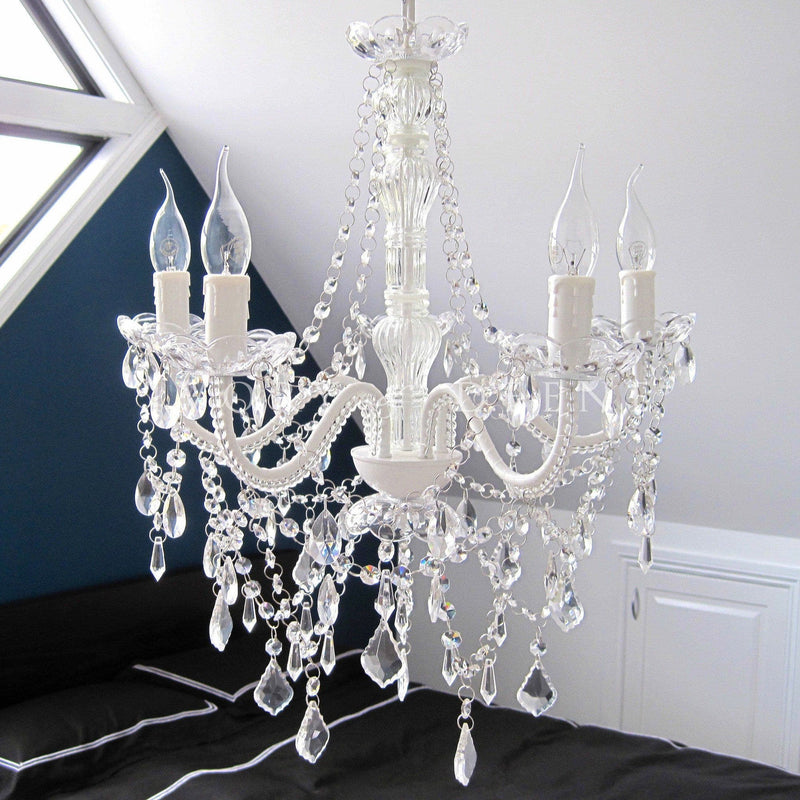 French White 5 Light Glass Crystal Chandelier - Devotion
